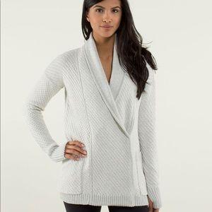 Lululemon Post Practice Cardi Silver Spoon Sweater